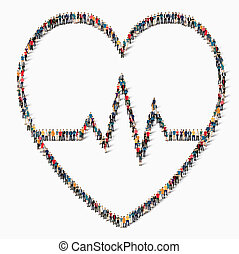 people  sign  heart cardiac medicine icon