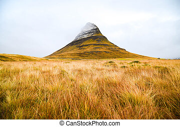 Kirkjufell mountain, natural landmark of Iceland -...