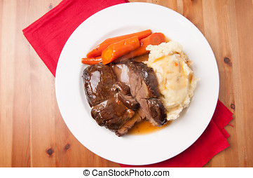 pot roast with mashed potatoes - delicious braised beef...