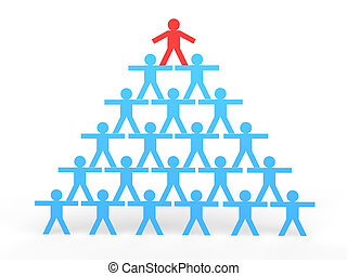 3d stick men making a human pyramid with leader on top