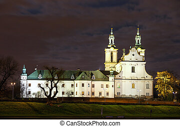Church on the Skalka in the night in Krakow, Poland