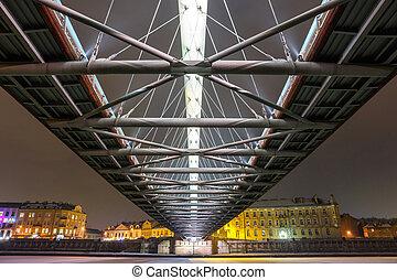 Bernatka footbridge over Vistula river in the night in...