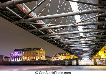 Bernatka footbridge over Vistula river in the night in...