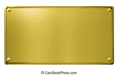gold metal plaque or plate isolated - gold metal plaque with...