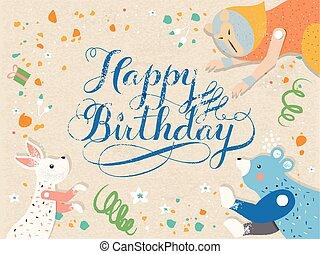 Happy birthday calligraphy design