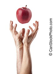 First sin - Man and woman hand trying to catch an apple