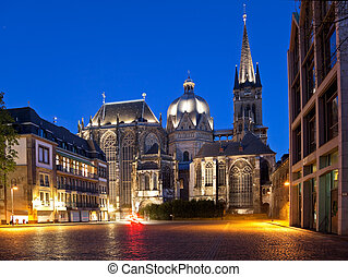 Aachen Cathedral - The cathedral in Aachen (Germany) at the...