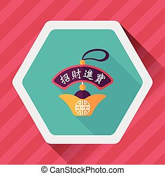 Chinese New Year flat icon with long shadow,eps10, Gold...