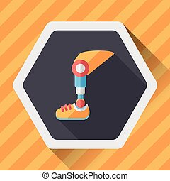 prosthetic leg flat icon with long shadow