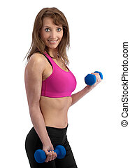 Attractive woman with dumbells