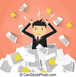 businessman in pile of office papers