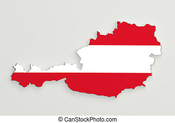 Silhouette of Austria map with flag - 3d rendering of...