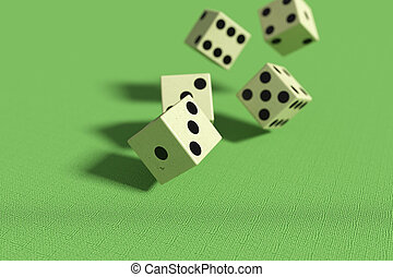 Dice falling down - 3d rendering of close-up of 3d dice...