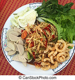 "Famous Thai food, papaya salad ""Som Tum"" in Thai - Famous..."