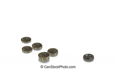 coins of dollars and euros grow in columns