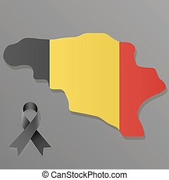 Pray for Brussels - Belgium map with national flag colors...