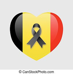 Pray for Brussels flag - Heart with national flag of Belgium...