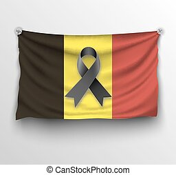 Pray for Brussels flag - Belgium realistic flag with black...