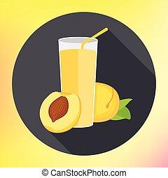 Glass peach apricot juice flat - Glass of apricot juice flat...