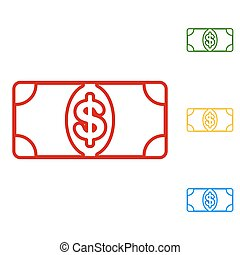 Bank Note dollar sign. Set of line icons. Red, green, yellow...
