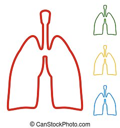 Human organs. Lungs sign. Set of line icons. Red, green,...