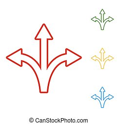 Three-way direction arrow sign. Set of line icons. Red,...