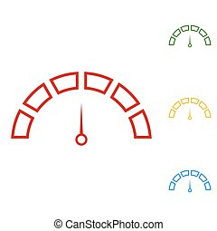 Speedometer sign. Set of line icons