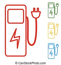 Electric car charging station sign. Set of line icons. Red,...