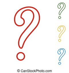 Question mark sign. Set of line icons