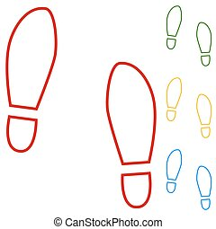 Imprint soles shoes Set of line icons Red, green, yellow and...