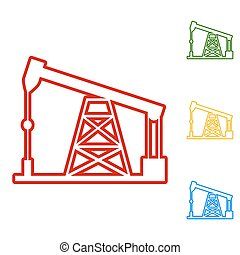 Oil drilling rig sign. Set of line icons. Red, green, yellow...