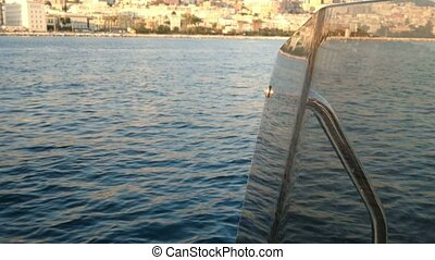 Seafront of Naples seen from a boat - Seafront of Naples,...