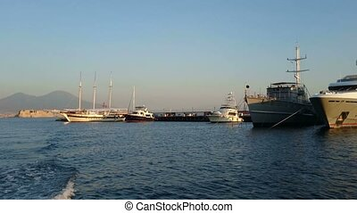 Luxury yachts docked in Naples - Luxury yachts docked in the...