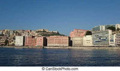 Buildings facing the seafront of Naples, Italy, seen from...