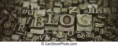 Close up of typeset letters with the word Blog - Close up of...