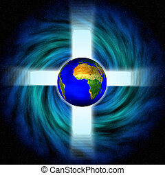 Stock image of Space Vortex with cross and earth - Digital...
