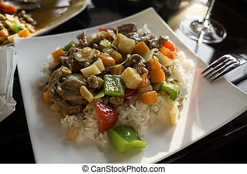 Asian food - Chinese food - stir fry beef with vegetables...