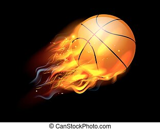 Basketball Ball on Fire - A flaming basketball ball on fire...