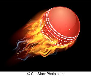 Cricket Ball on Fire - A flaming cricket ball on fire flying...