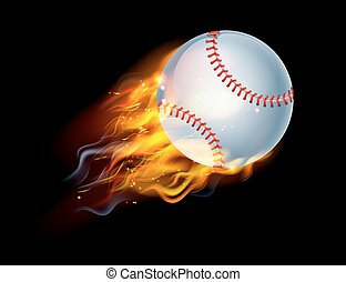 Baseball Ball on Fire - A flaming baseball ball on fire...