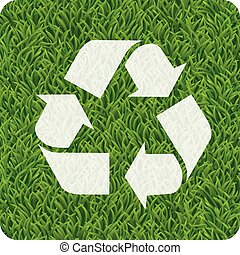 Green grasses recycle eco icon