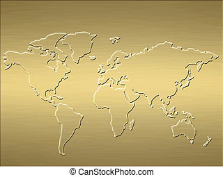 gold world map - a large map of the world embossed into a...