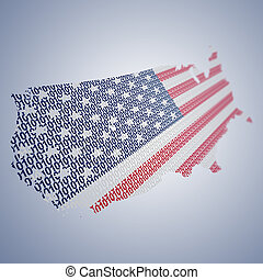 Series of USA flags formed and shaped creatively - binary...