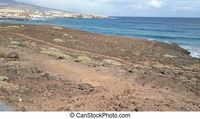 Volcanic rocks beside the sea in southern Tenerife, Canary...