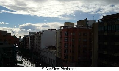 Rain with sunshine in Santa Cruz de Tenerife, Canary Islands