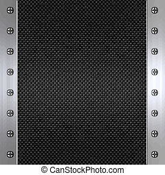 carbon fibre and steel background - image of carbon fibre...