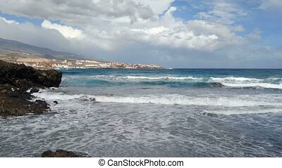 Choppy sea on the coast of Tenerife - Choppy sea in a sunny...