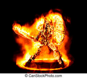 fiery sketon warrior - great image of a fiery and flaming...