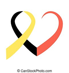 Belgian flag heart - Belgian flag ribbon in commemoration of...