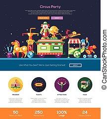circo, carnaval, fiesta, sitio web, encabezamiento, bandera,...